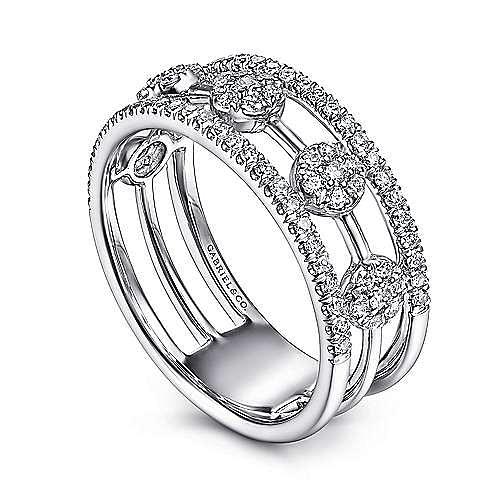 14K White Gold Round Diamond Station Ring