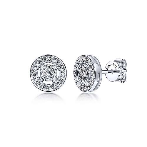 14K White Gold Round Diamond Stud Earrings
