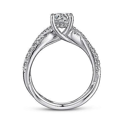 14K White Gold Round Diamond Twisted Engagement Ring