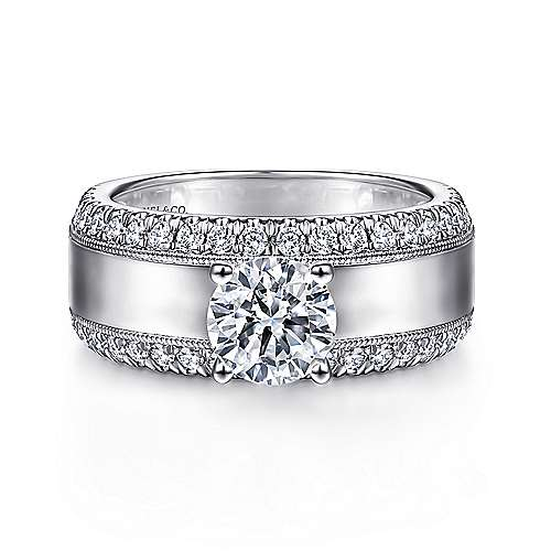 14K White Gold Round Diamond Wide Band Engagement Ring