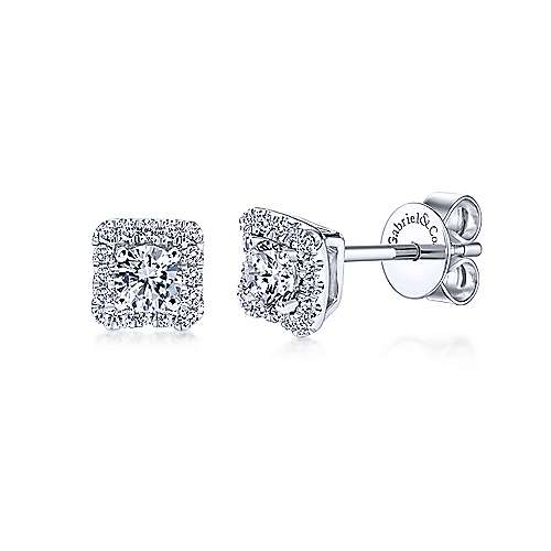 14K White Gold Round Diamond and Princess Halo Stud Earrings