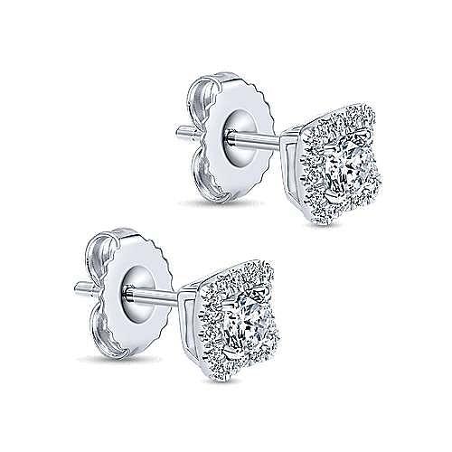 14K White Gold Round Diamond and Princess Halo Stud Earrings