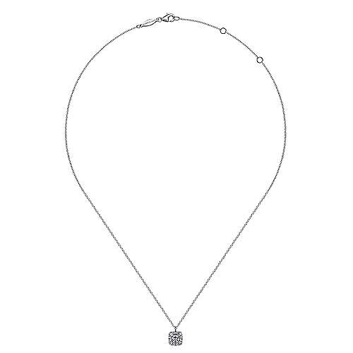 14K White Gold Round Diamond with Cushion Halo Pendant Necklace