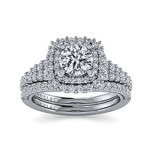 14K White Gold Round Double Halo Diamond Engagement Ring