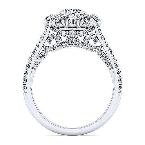 14K White Gold Round Double Halo Diamond Engagement Ring
