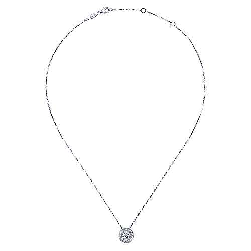 14K White Gold Round Double Halo Diamond Pendant Necklace