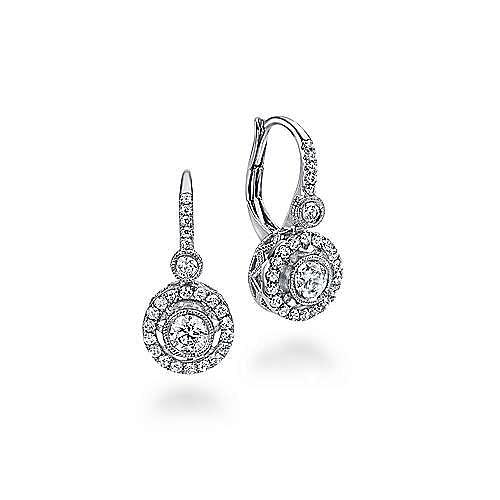 14K White Gold Round Floating Halo Leverback Diamond Earrings
