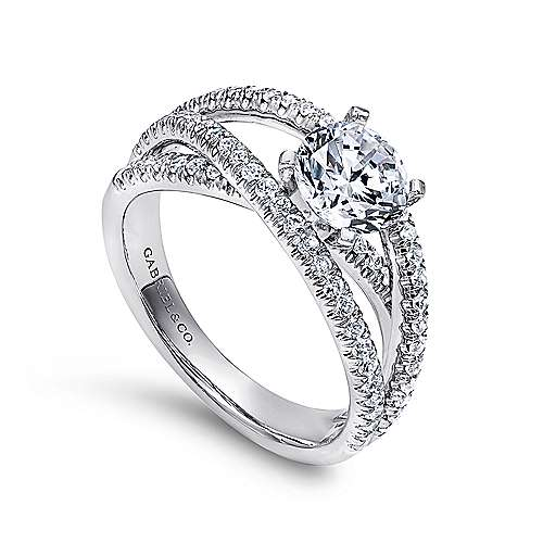 14K White Gold Round Free Form Diamond Engagement Ring