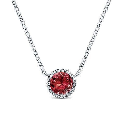 14K White Gold Round Garnet and Diamond Halo Pendant Necklace
