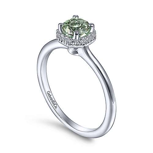 14K White Gold Round Green Amethyst and Hexagon Diamond Halo Ring