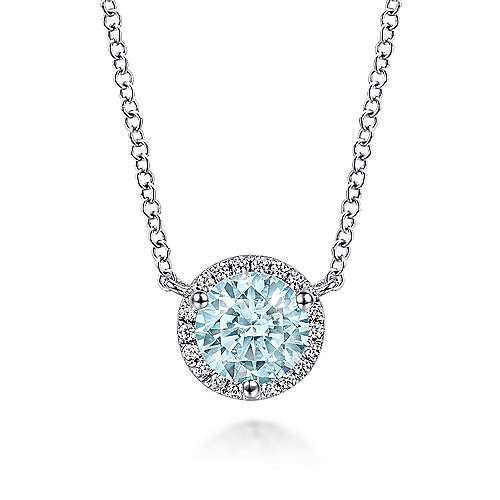 14K White Gold Round Halo Aquamarine and Diamond Necklace