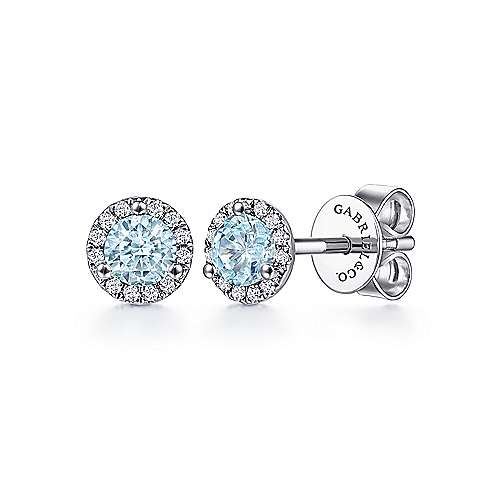 14K White Gold Round Halo Aquamarine and Diamond Stud Earrings