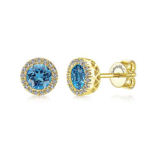 14K White Gold Round Halo Blue Topaz and Diamond Stud Earrings