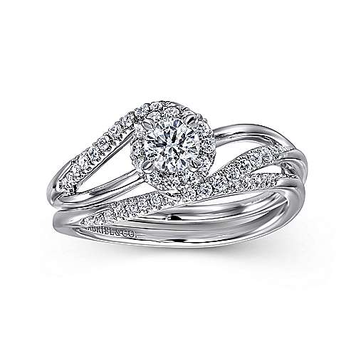 14K White Gold Round Halo Bypass Complete Diamond Engagement Ring