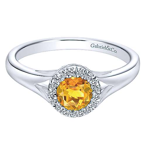 14K White Gold Round Halo Citrine and Diamond Ring
