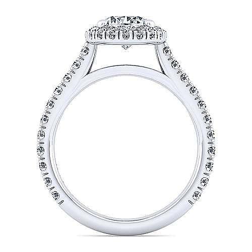 14K White Gold Round Halo Diamond Engagement Ring