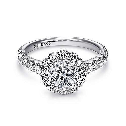 Gabriel - 14K White Gold Round Halo Diamond Engagement Ring