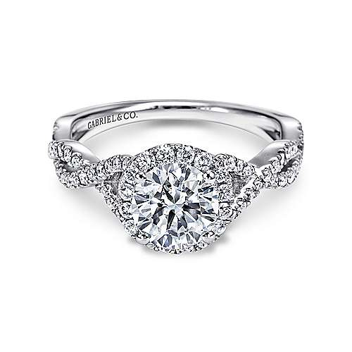 Gabriel - 14K White Gold Round Halo Diamond Engagement Ring