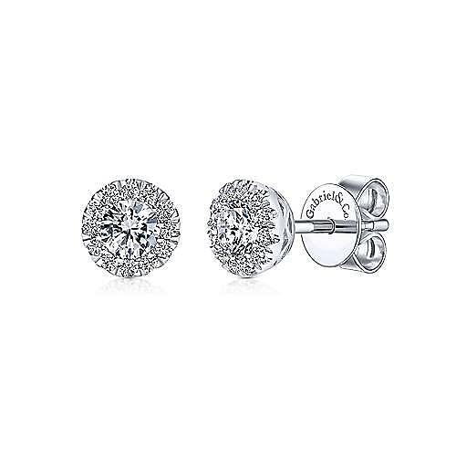 14K White Gold Round Halo Diamond Stud Earrings