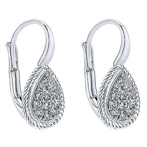 14K White Gold Round Leverback Cluster Diamond Earrings