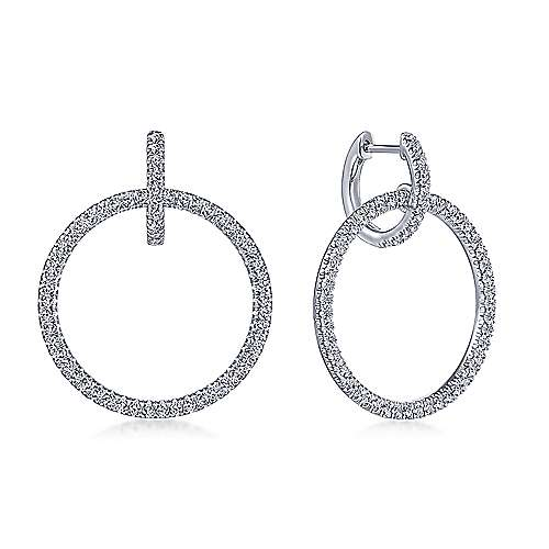 14K White Gold Round Linked Pavé 30mm Diamond Huggie Drop Earrings