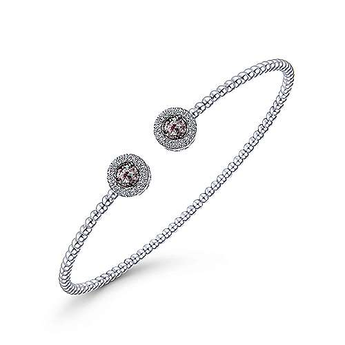14K White Gold Round Manmade Alexandrite and Diamond Halo Bujukan Bangle