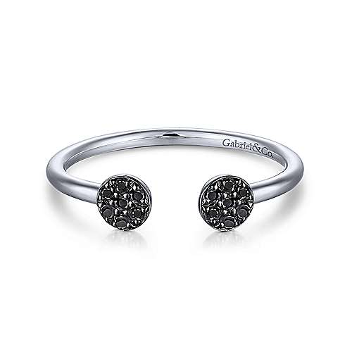 14K White Gold Round Pavé Black Diamond Cluster Split Ring