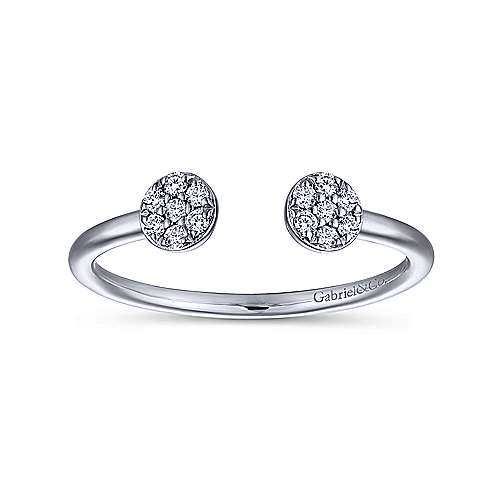 14K White Gold Round Pavé Diamond Cluster Split Ring