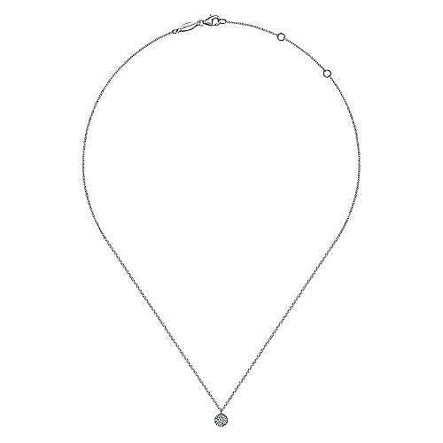 14K White Gold Round Pavé Diamond Disc Pendant Necklace