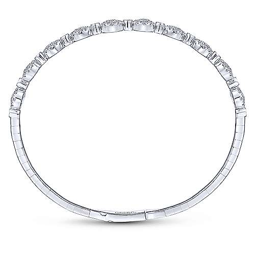 14K White Gold Round Pavé Diamond Station Bangle