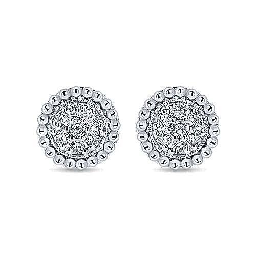 14K White Gold Round Pavé Diamond Stud Earrings with Beaded Ball Frame