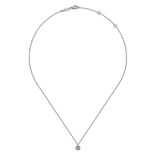 14K White Gold Round Pave Diamond Fashion Necklace