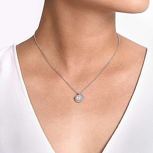 14K White Gold Round Pearl Pendant Necklace with Diamond Halo Swirl