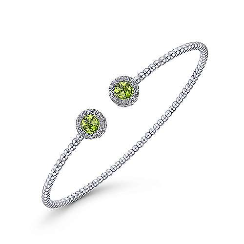 14K White Gold Round Peridot and Diamond Halo Bujukan Bangle