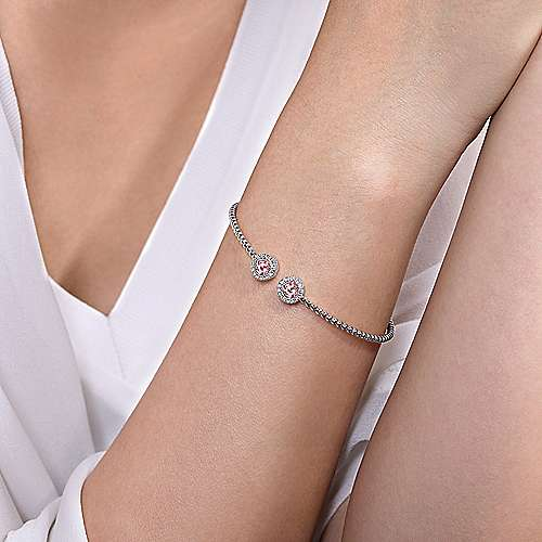 14K White Gold Round Pink Created Zircon and Diamond Halo Bujukan Bangle