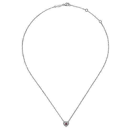 14K White Gold Round Pink Tourmaline and Diamond Heart Pendant Necklace