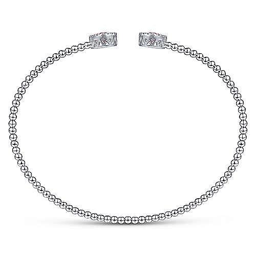 14K White Gold Round Pink Zircon and Diamond Halo Bujukan Bangle
