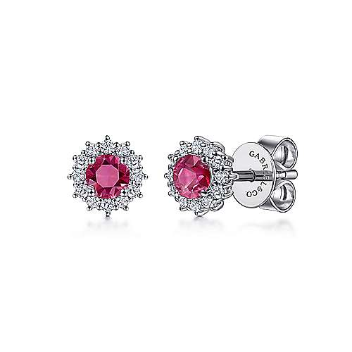 14K White Gold Round Ruby and Diamond Halo Stud Earrings