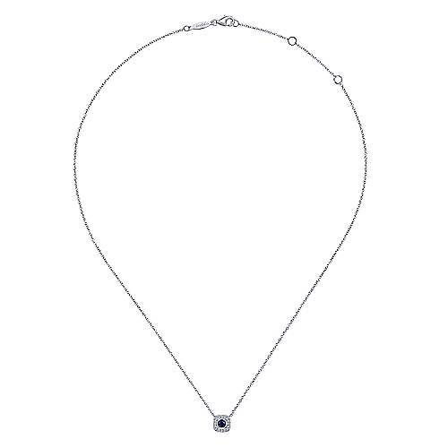 14K White Gold Round Sapphire and Cushion Cut Pave Diamond Halo Necklace