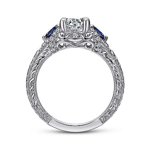 14K White Gold Round Sapphire and Diamond Engagement Ring
