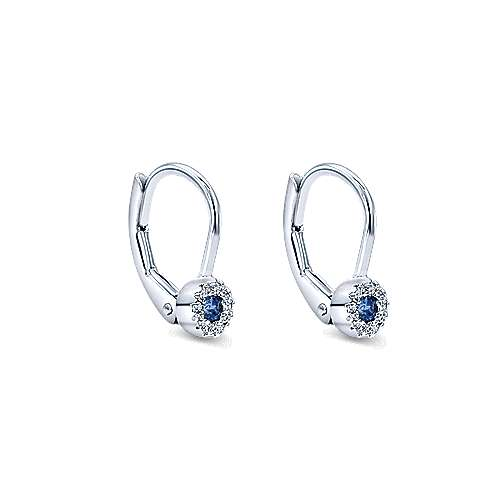 14K White Gold Round Sapphire and Diamond Halo Drop Earrings