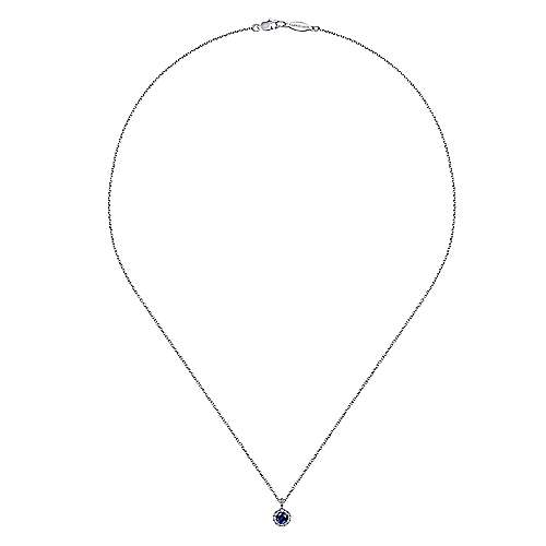 14K White Gold Round Sapphire and Diamond Halo Pendant Necklace