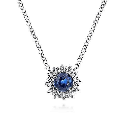 14K White Gold Round Sapphire and Diamond Halo Pendant Necklace