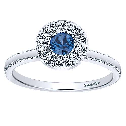14K White Gold Round Sapphire and Diamond Halo Ring