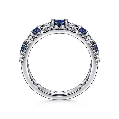 14K White Gold Round Sapphire and Diamond Ring
