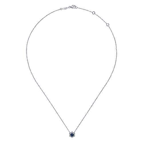 14K White Gold Round Sapphire and Hexagonal Diamond Halo Pendant Necklace