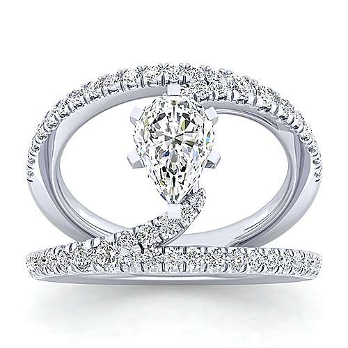 14K White Gold Round Split Shank Diamond Engagement Ring