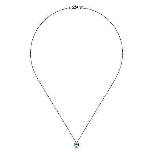 14K White Gold Round Swiss Blue Topaz and Diamond Halo Necklace