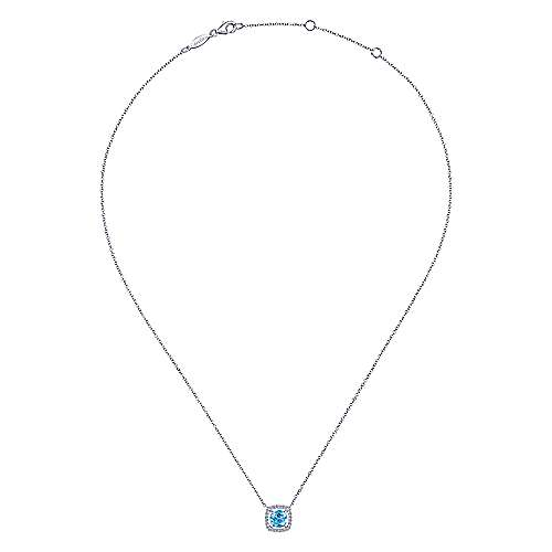14K White Gold Round Swiss Blue Topaz and Diamond Square Pendant Necklace