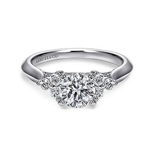 14K White Gold Round Three Stone Cluster Diamond Engagement Ring